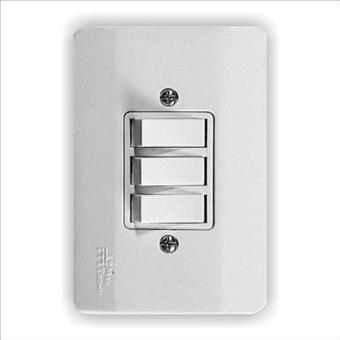 Interruptor Triplo 3 Teclas Simples com Placa Millenium Mectronic 21006
