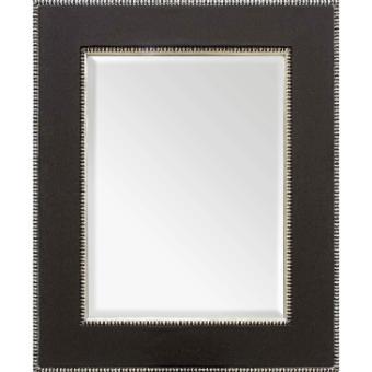 Espelho Decorativo com Moldura Prata Revestida em Corano Preto Vários Tamanhos