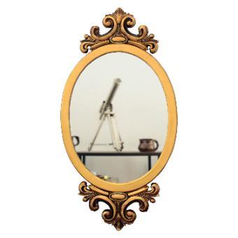 Espelho Decorativo Oval Dourado Envelhecido 52x100cm
