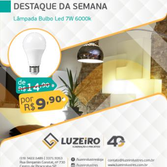 Lâmpada Bulbo Led 7W 6000k