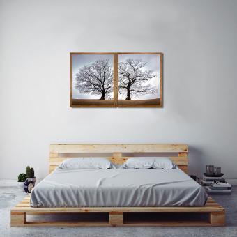 Par de Quadros com Moldura Rústica Outono Árvore Seca Kit com 2 Quadros de 64x79cm