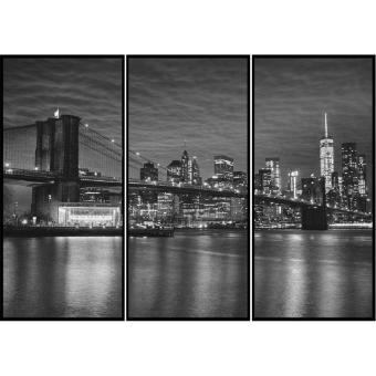 Quadros Decorativos Combo Kit com 3 Quadros em Preto e Branco Nova York Ponte Brooklyn - 150x100cm